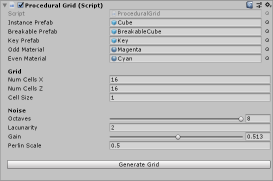 Inspector variables for Procedural Grid.